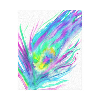 Abstract peacock feather bright watercolor paint canvas print