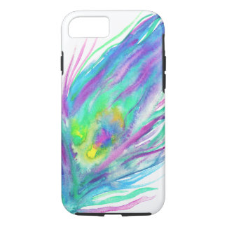 Abstract peacock feather bright watercolor paint iPhone 7 case