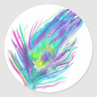 Abstract peacock feather bright watercolor paint classic round sticker