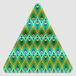 Abstract peacock feather triangle sticker