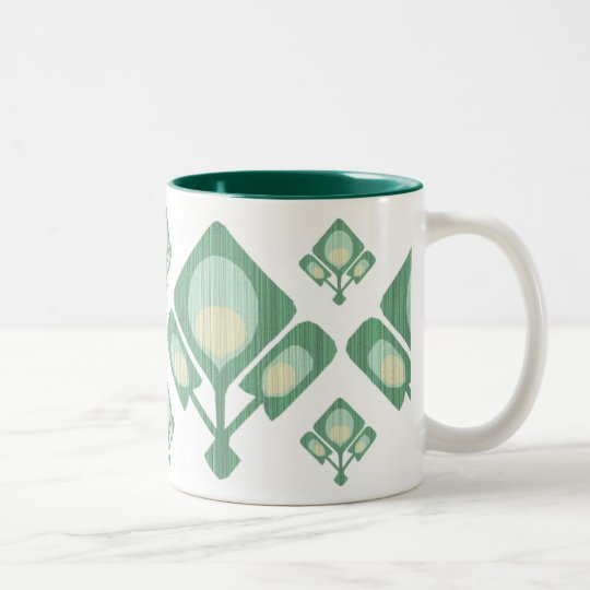 Abstract Peacock Feather Two-Tone Coffee Mug