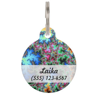 Abstract Peacock Feathers - colorful fractal art Pet Nametag