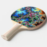 Abstract Peacock Feathers - colorful fractal art Ping Pong Paddle