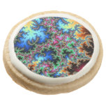 Abstract Peacock Feathers - colorful fractal art Round Premium Shortbread Cookie