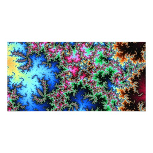 Abstract Peacock Feathers - colorful fractal art Personalized Photo Card