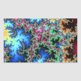 Abstract Peacock Feathers - colorful fractal art Rectangular Sticker