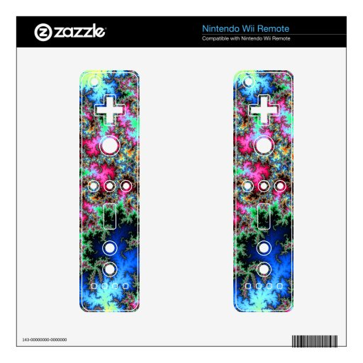 Abstract Peacock Feathers - colorful fractal art Wii Remote Skin