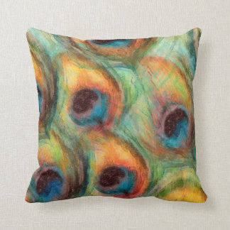 Abstract Peacock Feathers in Blue and Green Orange Throw Pillow