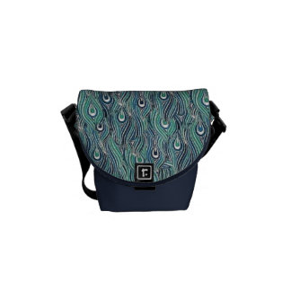 Abstract Peacock Feathers Mini Messenger  Bag