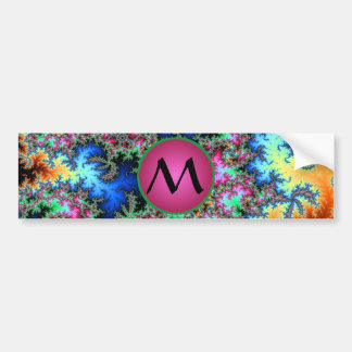 Abstract Peacock Feathers with Pink Monogram Bumper Sticker