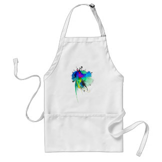 Abstract Peacock Paint Splatters Adult Apron