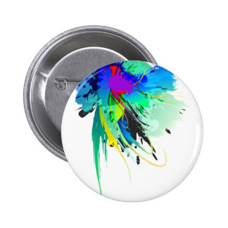 Abstract Peacock Paint Splatters Button