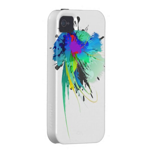 Abstract Peacock Paint Splatters iPhone 4/4S Cases