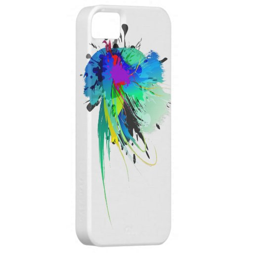 Abstract Peacock Paint Splatters iPhone 5 Covers