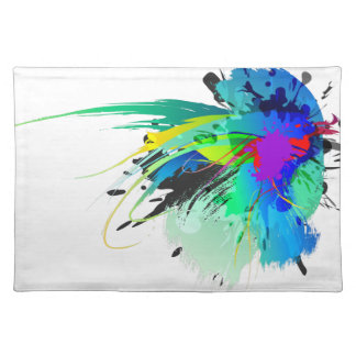 Abstract Peacock Paint Splatters Cloth Placemat