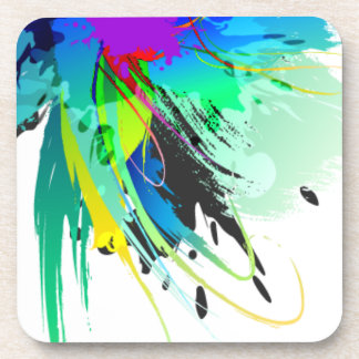 Abstract Peacock Paint Splatters Coaster