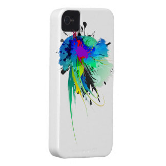 Abstract Peacock Paint Splatters iPhone 4 Case