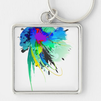 Abstract Peacock Paint Splatters Key Chains