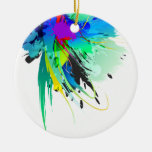 Abstract Peacock Paint Splatters Double-Sided Ceramic Round Christmas Ornament