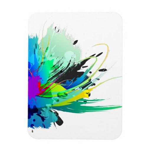 Abstract Peacock Paint Splatters Rectangular Photo Magnet