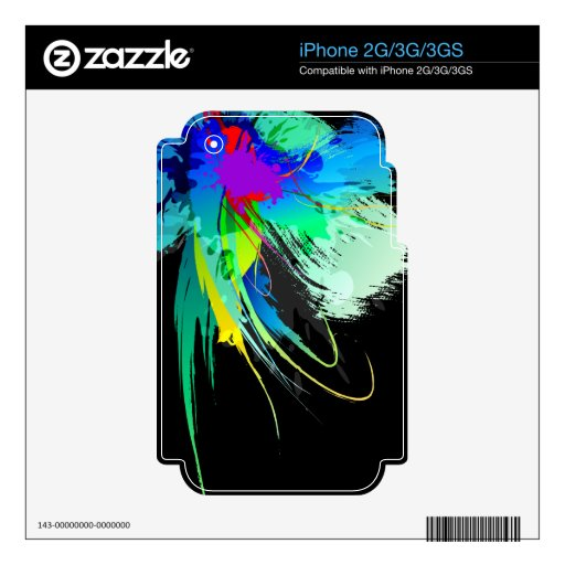 Abstract Peacock Paint Splatters Skin For iPhone 2G
