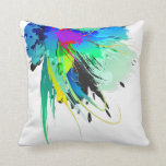 Abstract Peacock Paint Splatters Throw Pillow