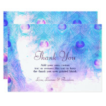 Abstract Peacock, Watercolor Thank You Cards