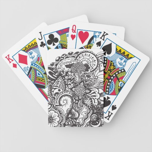 Abstract pen and ink doodle bicycle playing cards