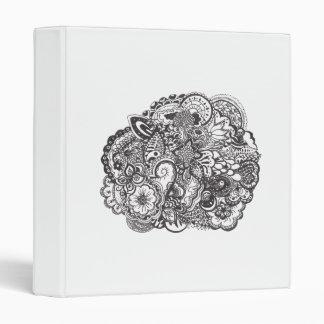 Abstract pen and ink doodle vinyl binder