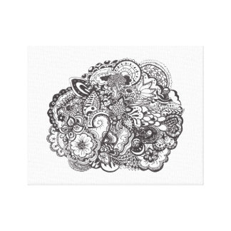 Abstract pen and ink doodle canvas print