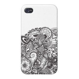 Abstract pen and ink doodle cover for iPhone 4
