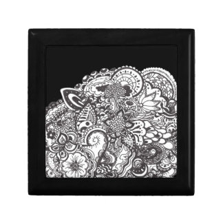Abstract pen and ink doodle keepsake box