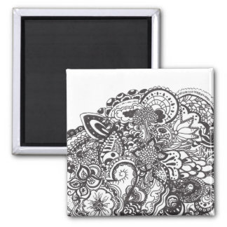 Abstract pen and ink doodle magnet