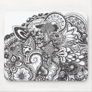 Abstract pen and ink doodle mouse pad