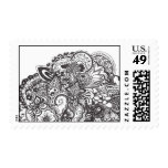 Abstract pen and ink doodle postage stamps