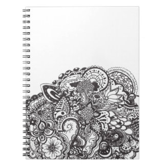 Abstract pen and ink doodle spiral notebook