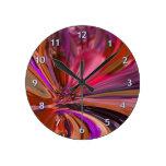 Abstract Peony Round Clock