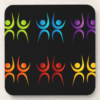 Abstract people- colorful people beverage coaster