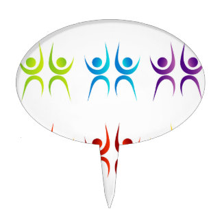 Abstract people- colorful people cake topper