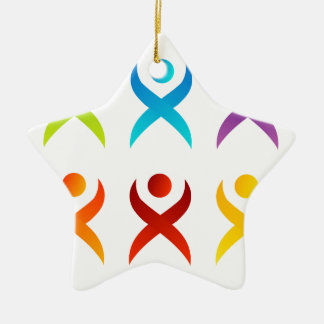 Abstract people- colorful people ceramic ornament