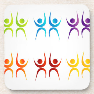 Abstract people- colorful people drink coaster