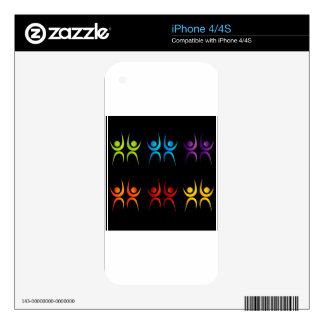 Abstract people- colorful people iPhone 4 skins