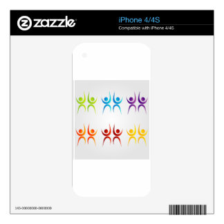 Abstract people- colorful people iPhone 4S decals