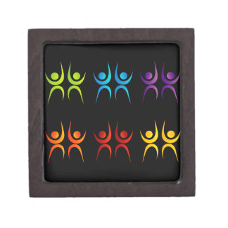 Abstract people- colorful people jewelry box