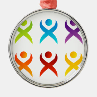 Abstract people- colorful people metal ornament