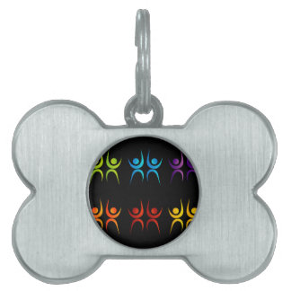 Abstract people- colorful people pet name tag