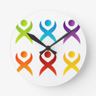 Abstract people- colorful people round clock