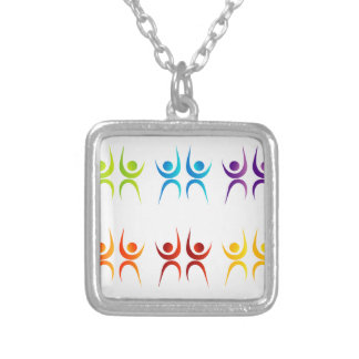 Abstract people- colorful people silver plated necklace