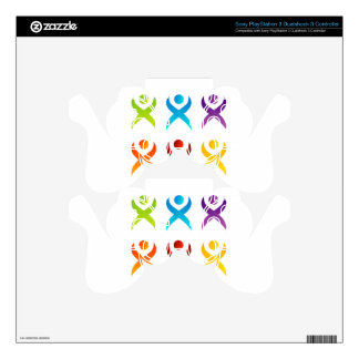 Abstract people- colorful people skin for PS3 controller