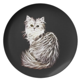 Abstract persian cat melamine plate